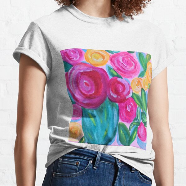 Pink Flowers Whimsical Painting Classic T-Shirt