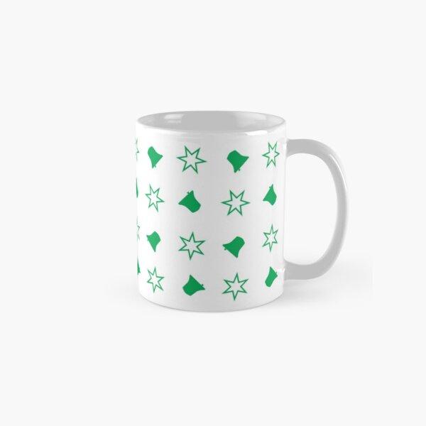 Bell Ringing - CHRISTMAS BELLS & STARS Green Classic Mug