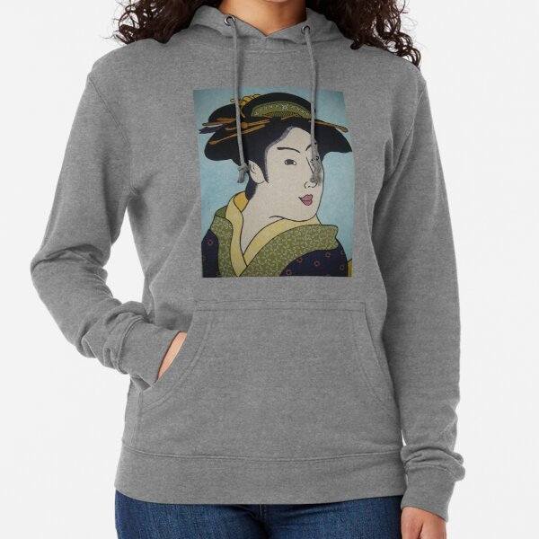 Geisha with green combs Lightweight Hoodie