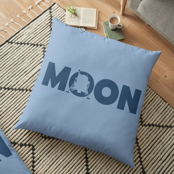 Moon lettering with Apollo 11 lander ▶ Floor Pillow