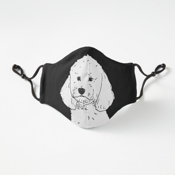 White Poodle dog Fitted 3-Layer