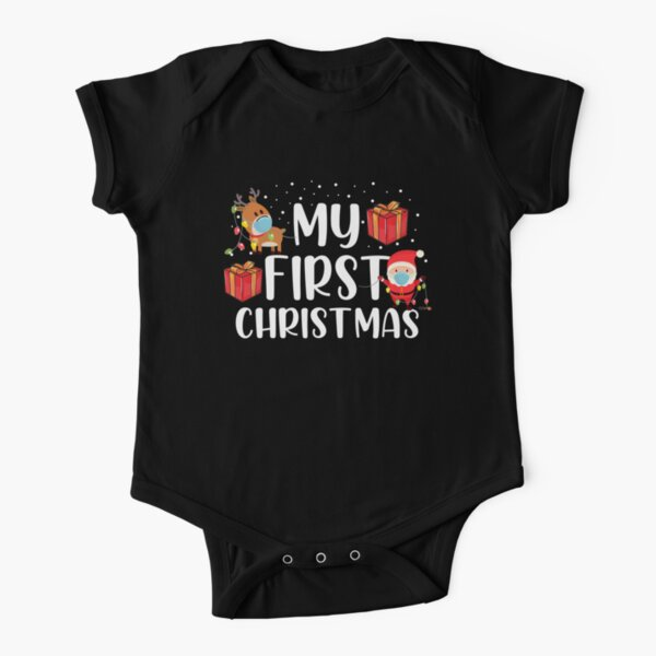 My First Christmas Sweater Short Sleeve Baby One-Piece