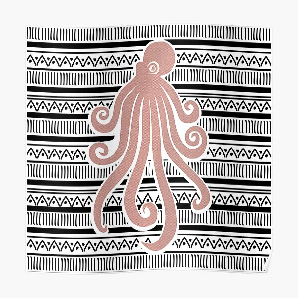 Pink Octopus on b&w. Poster