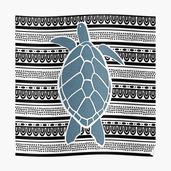 Blue Sea Turtle on b&w Poster