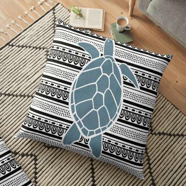 Blue Sea Turtle on b&w Floor Pillow