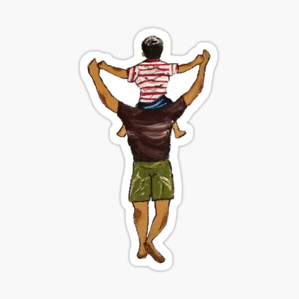 Oil painting of father and son sitting on his shoulders.  Sticker