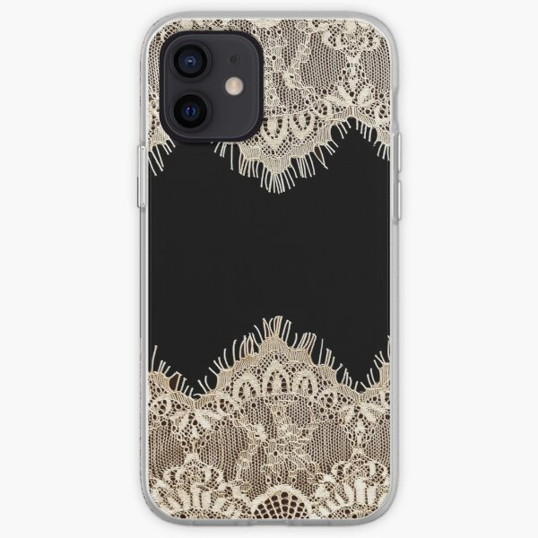 Black and Gold lace pattern iPhone Soft Case