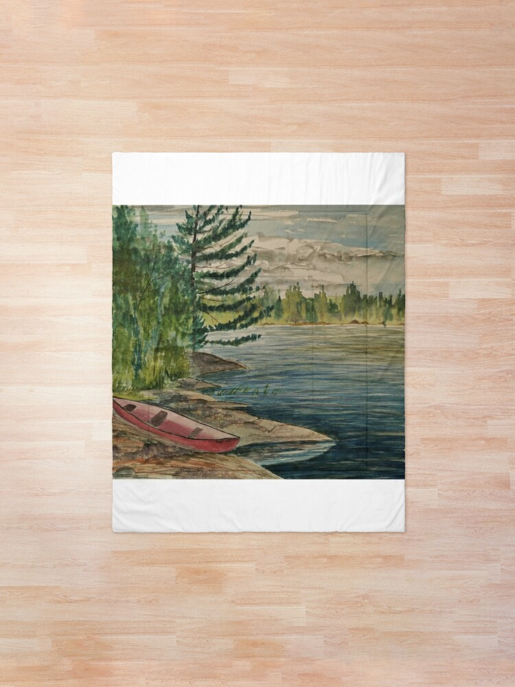 Alternate view of Old canoe on Rathbun Lake Comforter