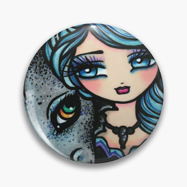 Mermaid and Dragon Friend Blue Cool Tone Whimsical Art Pin