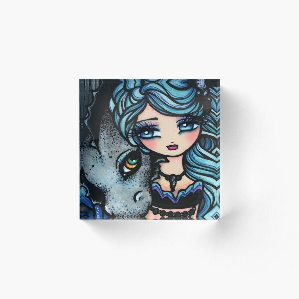 Mermaid and Dragon Friend Blue Cool Tone Whimsical Art Acrylic Block