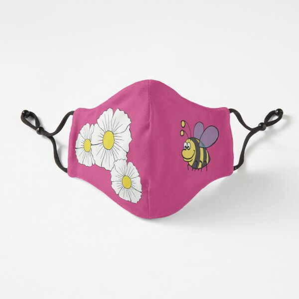 Happy Bee with Big Flowers Fitted 3-Layer