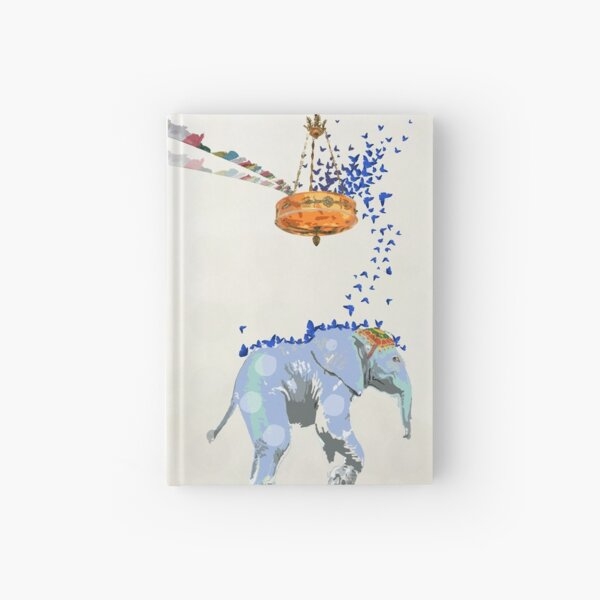 Beatrice Elephant with Blue Butterflies Hardcover Journal
