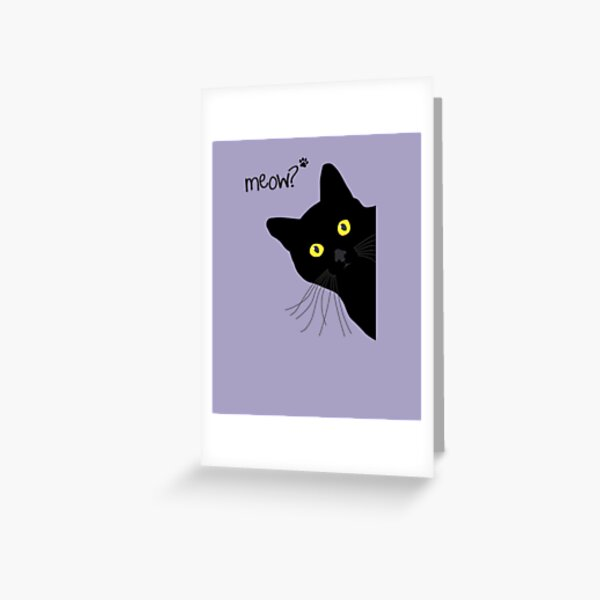 Black meow grumpy Cat  Greeting Card