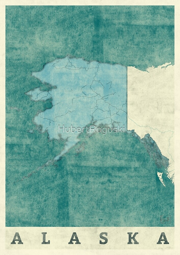Alaska State Map Blue Vintage by HubertRoguski