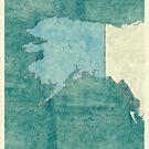 Alaska State Map Blue Vintage by HubertRoguski