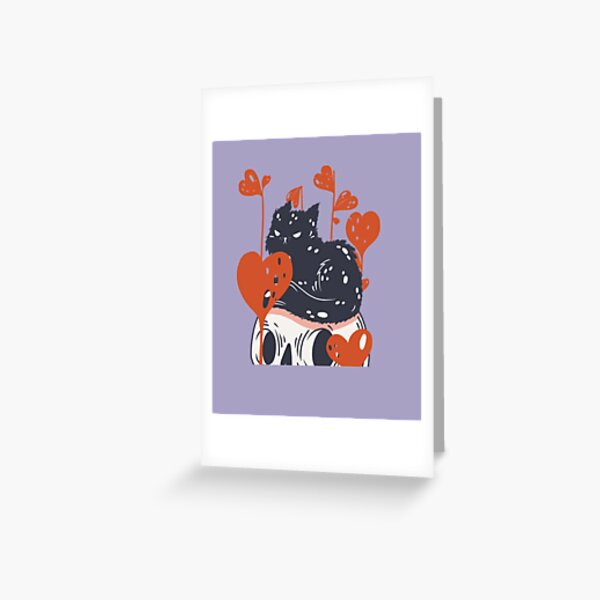 Angry cat surrounded by love Greeting Card