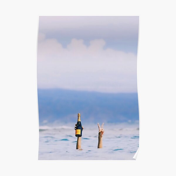 Champagne in The Ocean Poster