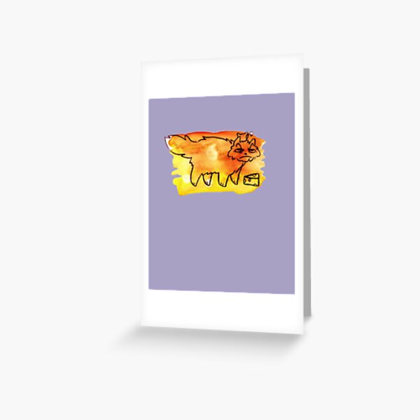 Grumpy Watercolor Cat with Cheese Greeting Card