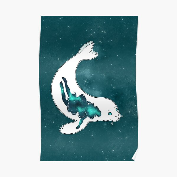 Swimming Through Space - Galaxy Selkie -  Poster