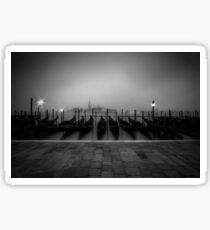 VENICE Gondolas on a foggy morning Sticker