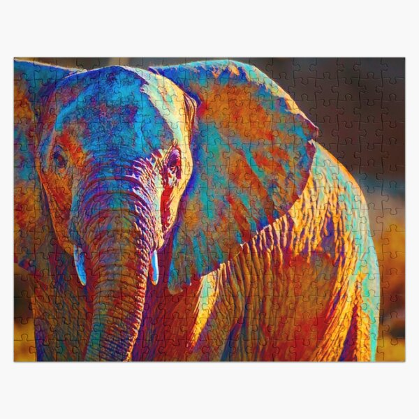 Colorful Elephant Print Jigsaw Puzzle