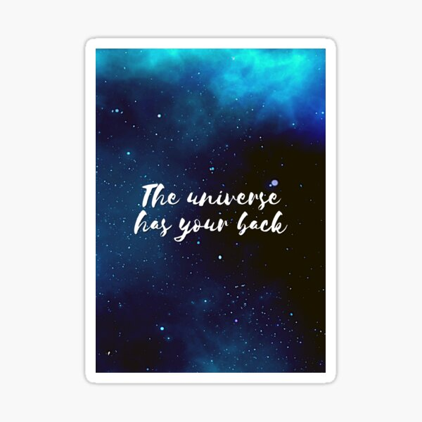 The universe has your back Starry night dark sky pattern, night sky, stars, universe white text Sticker