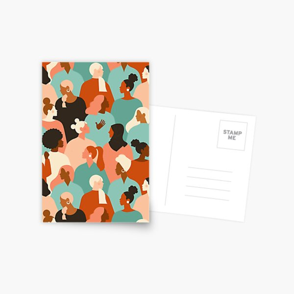 Female diverse faces of different ethnicity seamless pattern. Women empowerment movement pattern. International women's day graphic.  Postcard