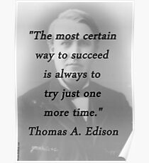 Way to Succeed - Thomas Edison Poster
