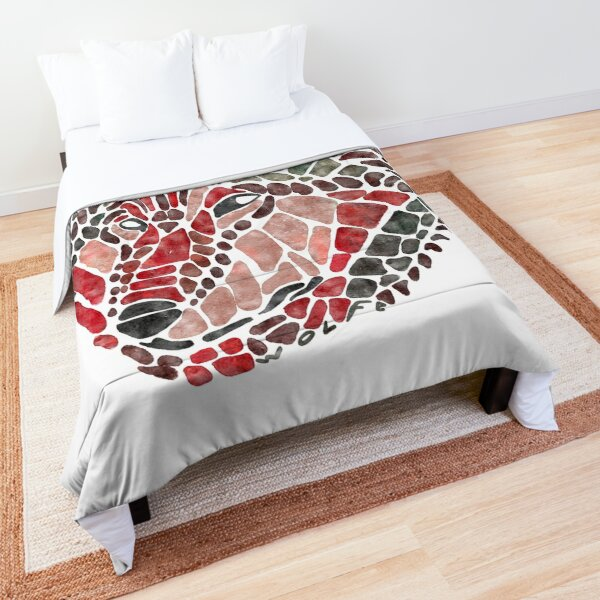 Red Wolf Painted Mosaic Illustration Comforter