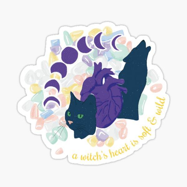 a witch heart is soft & wild Sticker