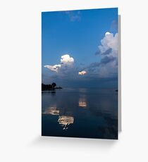 Cool Pearly Clouds Over the Lake Greeting Card
