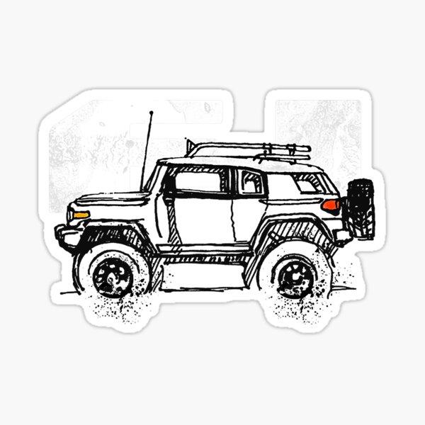 FJ Cruiser - Sketch artist Profile, best gift for FJ's Dad, Mom birthday gift, off road T-Shirt T-Shirt Sticker