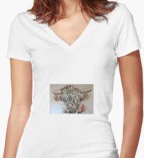 highland coo! Women's Fitted V-Neck T-Shirt