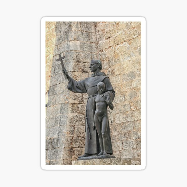 St. Francis of Assisi with young boy Sticker