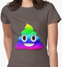 Rainbow Smiling Poop Emoji Womens Fitted T-Shirt