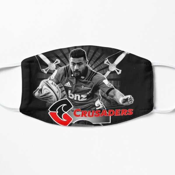BLACK WHITE RED SUPER RUGBY - NEW ZEALAND ALL BLACKS CRUSADERS SUPERSTAR FLY HALF RICHIE MO'UNGA Flat Mask