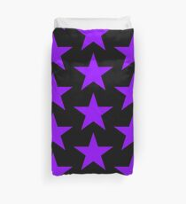 PURPLE, Star, on BLACK, Royalty, Royal, Bright Star, Special, Super nova, Stellar, Achievement, Cool, Duvet Cover