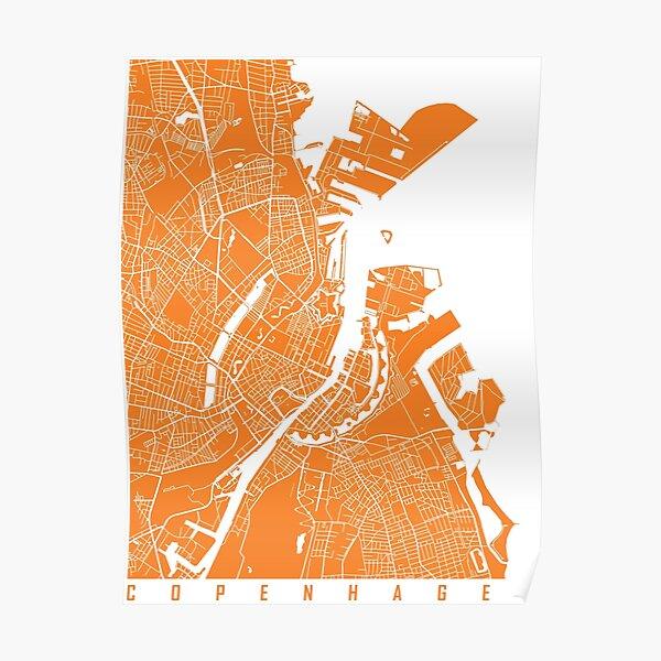 Copenhagen map orange Poster