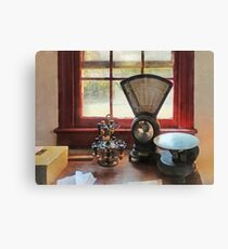 Postal Scale and Rubber Stamps Canvas Print