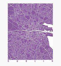 Dublin map lilac Photographic Print