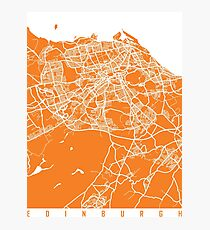 Edinburgh map orange Photographic Print