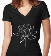 Lotus Flower Calligraphy (White) Women's Fitted V-Neck T-Shirt