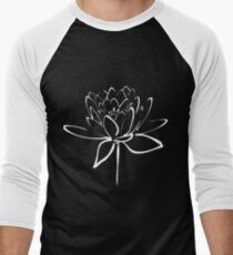 Lotus Flower Calligraphy (White) Men's Baseball ¾ T-Shirt