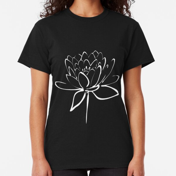 Lotus Flower Calligraphy (White) Classic T-Shirt