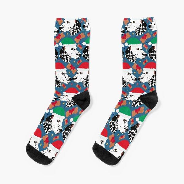 Dalmatian Spot Dog Christmas Hat Bone Treat Socks