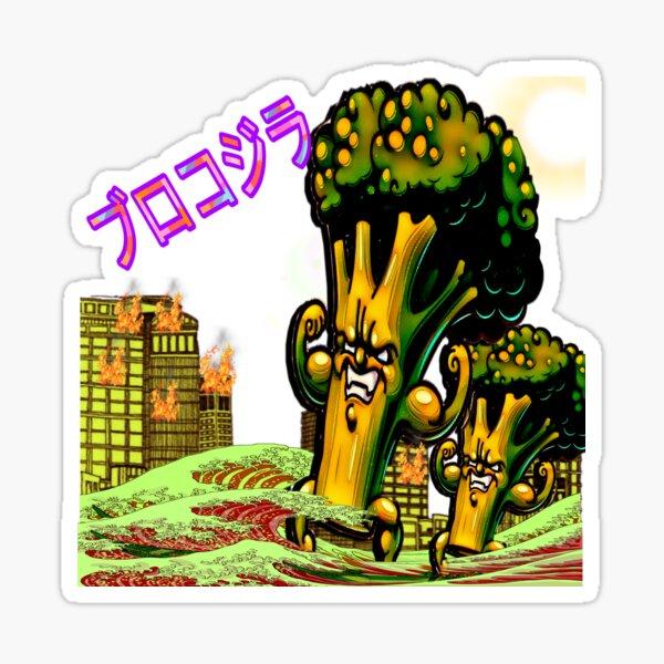 THE BROCCOZILLA, funny Broccozilla City Attack Sticker
