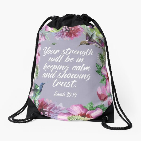 2021 YEARTEXT (Hummingbirds and Flowers) Drawstring Bag