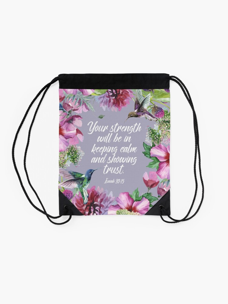 Alternate view of 2021 YEARTEXT (Hummingbirds and Flowers) Drawstring Bag