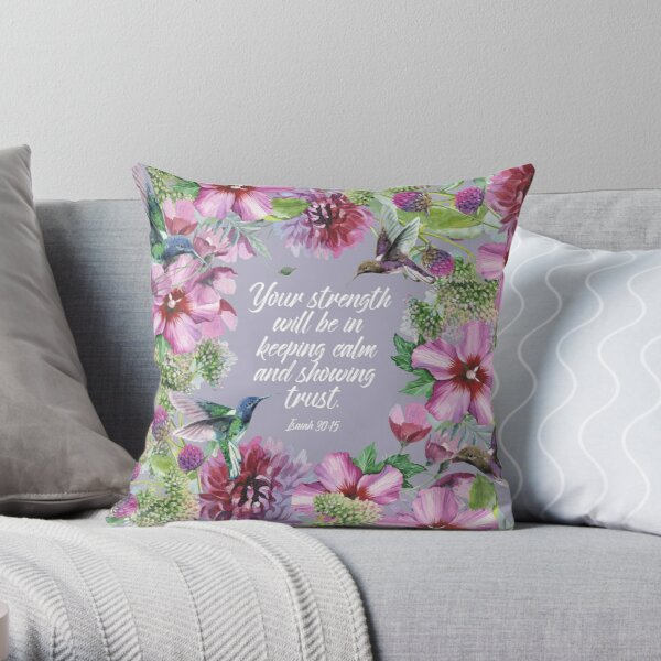 2021 YEARTEXT (Hummingbirds and Flowers) Throw Pillow