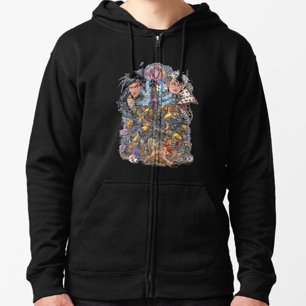 Borderlands 3  FL4K Beastmaster Amara Siren Moze Gunner Zane Operative Troy and Tyreen Calypso Zipped Hoodie